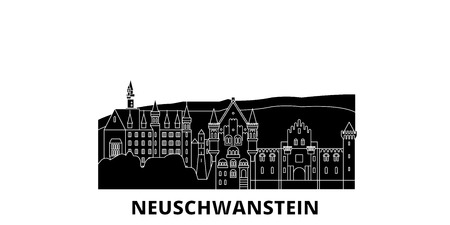 Germany, Neuschwanstein flat travel skyline set. Germany, Neuschwanstein black city vector panorama, illustration, travel sights, landmarks, streets.  イラスト・ベクター素材
