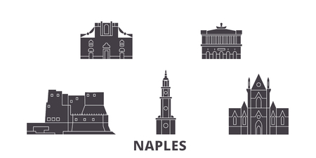 Italy, Naples flat travel skyline set. Italy, Naples black city vector panorama, illustration, travel sights, landmarks, streets.