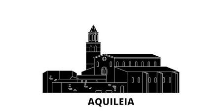 Italy, Aquileia  flat travel skyline set. Italy, Aquileia  black city vector panorama, illustration, travel sights, landmarks, streets.