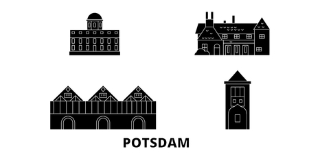 Germany, Potsdam flat travel skyline set. Germany, Potsdam black city vector panorama, illustration, travel sights, landmarks, streets. Illustration