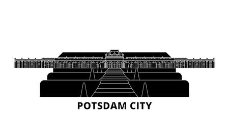 Germany, Potsdam City flat travel skyline set. Germany, Potsdam City black city vector panorama, illustration, travel sights, landmarks, streets. Illustration