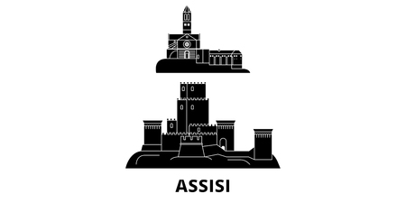 Italy, Assisi flat travel skyline set. Italy, Assisi black city vector panorama, illustration, travel sights, landmarks, streets.  イラスト・ベクター素材