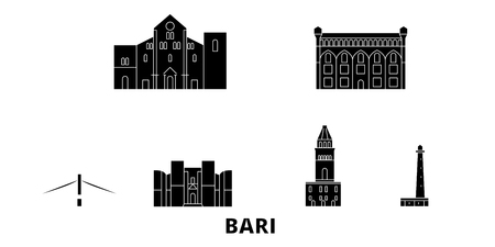 Italy, Bari flat travel skyline set. Italy, Bari black city vector panorama, illustration, travel sights, landmarks, streets.