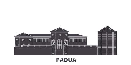 Italy, Padua City flat travel skyline set. Italy, Padua City black city vector panorama, illustration, travel sights, landmarks, streets.