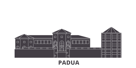 Italy, Padua City flat travel skyline set. Italy, Padua City black city vector panorama, illustration, travel sights, landmarks, streets.