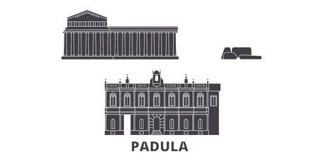 Italy, Padula  flat travel skyline set. Italy, Padula  black city vector panorama, illustration, travel sights, landmarks, streets. Foto de archivo - 120662513