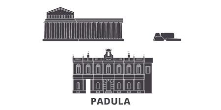 Italy, Padula  flat travel skyline set. Italy, Padula  black city vector panorama, illustration, travel sights, landmarks, streets.