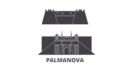 Italy, Palmanova flat travel skyline set. Italy, Palmanova black city vector panorama, illustration, travel sights, landmarks, streets.