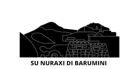 Italia, Barumini, Su Nuraxi Di Barumini flat travel skyline set. L'Italia, Barumini, Su Nuraxi Di Barumini nero città panorama vettoriale, illustrazione, siti di viaggi, punti di riferimento, strade.