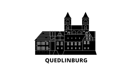 Germany, Quedlinburg flat travel skyline set. Germany, Quedlinburg black city vector panorama, illustration, travel sights, landmarks, streets. Illustration