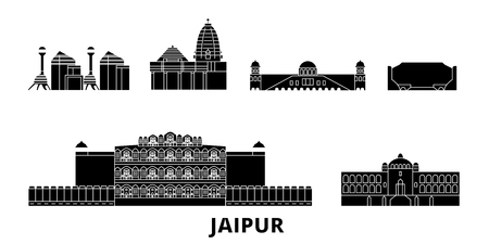 India, Jaipur flat travel skyline set. India, Jaipur black city vector panorama, illustration, travel sights, landmarks, streets.