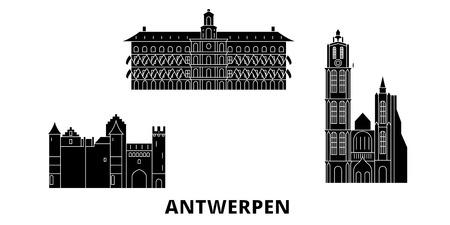 Belgium, Antwerpen flat travel skyline set. Belgium, Antwerpen black city vector panorama, illustration, travel sights, landmarks, streets.