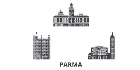 Italy, Parma flat travel skyline set. Italy, Parma black city vector panorama, illustration, travel sights, landmarks, streets.