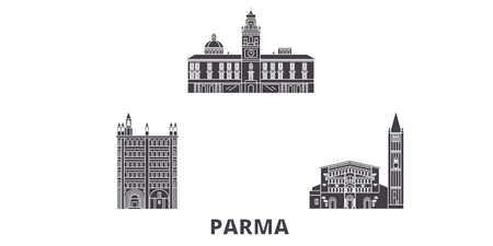 Italy, Parma flat travel skyline set. Italy, Parma black city vector panorama, illustration, travel sights, landmarks, streets.