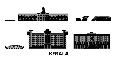 India, Kerala flat travel skyline set. India, Kerala black city vector panorama, illustration, travel sights, landmarks, streets.