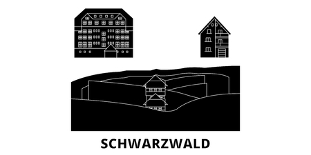 Germany, Schwarzwald flat travel skyline set. Germany, Schwarzwald black city vector panorama, illustration, travel sights, landmarks, streets.