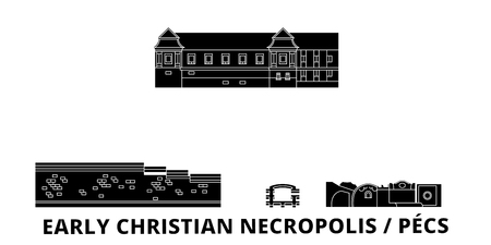 Hungary, Pecs, Early Christian Necropolis  flat travel skyline set. Hungary, Pecs, Early Christian Necropolis  black city vector panorama, illustration, travel sights, landmarks, streets.