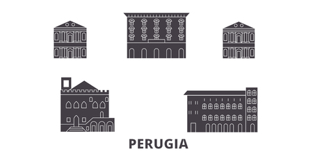 Italy, Perugia flat travel skyline set. Italy, Perugia black city vector panorama, illustration, travel sights, landmarks, streets.  イラスト・ベクター素材