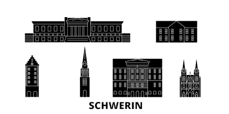 Germany, Schwerin flat travel skyline set. Germany, Schwerin black city vector panorama, illustration, travel sights, landmarks, streets.