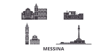 Italy, Messina flat travel skyline set. Italy, Messina black city vector panorama, illustration, travel sights, landmarks, streets.