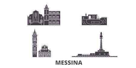 Italy, Messina flat travel skyline set. Italy, Messina black city vector panorama, illustration, travel sights, landmarks, streets.