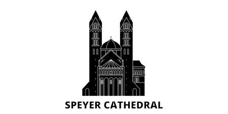 Deutschland, Speyer flache Reise-Skyline-Set. Deutschland, Speyer schwarzes Stadtvektorpanorama, Illustration, Reiseanblicke, Sehenswürdigkeiten, Straßen.