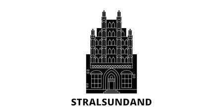Germany, Stralsundand flat travel skyline set. Germany, Stralsundand black city vector panorama, illustration, travel sights, landmarks, streets.