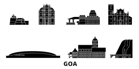 India, Goa flat travel skyline set. India, Goa black city vector panorama, illustration, travel sights, landmarks, streets.