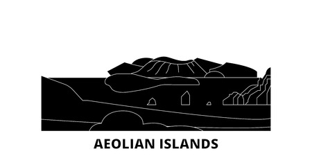 Italy, Aeolian Islands flat travel skyline set. Italy, Aeolian Islands black city vector panorama, illustration, travel sights, landmarks, streets. 일러스트