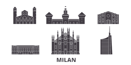Italy, Milan flat travel skyline set. Italy, Milan black city vector panorama, illustration, travel sights, landmarks, streets.