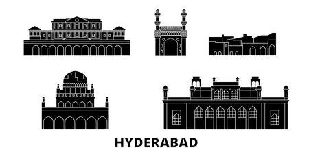India, Hyderabad flat travel skyline set. India, Hyderabad black city vector panorama, illustration, travel sights, landmarks, streets. Illustration