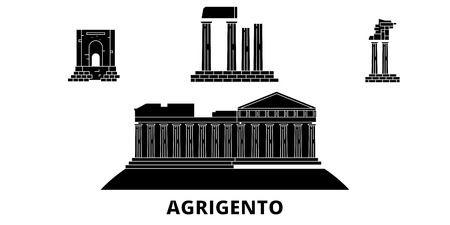 Italy, Agrigento  flat travel skyline set. Italy, Agrigento  black city vector panorama, illustration, travel sights, landmarks, streets.