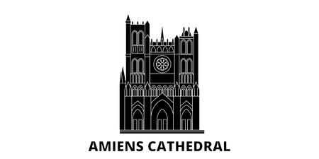 France, Amiens Cathedral  flat travel skyline set. France, Amiens Cathedral  black city vector panorama, illustration, travel sights, landmarks, streets.