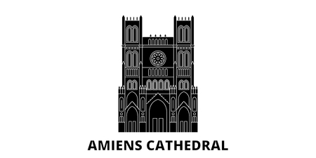 France, Amiens Cathedral  Landmark flat travel skyline set. France, Amiens Cathedral  Landmark black city vector panorama, illustration, travel sights, landmarks, streets. Illustration
