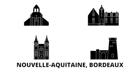 Francia, Bordeaux viaggio piatto skyline set. Francia, Bordeaux città nera panorama vettoriale, illustrazione, siti di viaggi, punti di riferimento, strade.