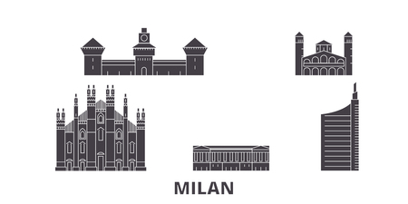 Italy, Milan City flat travel skyline set. Italy, Milan City black city vector panorama, illustration, travel sights, landmarks, streets.