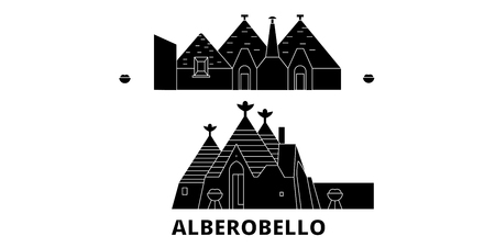Italy, Alberobello  flat travel skyline set. Italy, Alberobello  black city vector panorama, illustration, travel sights, landmarks, streets. Illustration