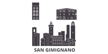 Italy, San Gimignano City flat travel skyline set. Italy, San Gimignano City black city vector panorama, illustration, travel sights, landmarks, streets. Çizim