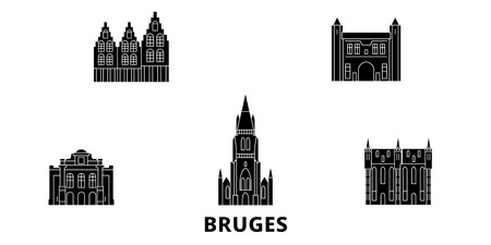 Belgium, Bruges flat travel skyline set. Belgium, Bruges black city vector panorama, illustration, travel sights, landmarks, streets.