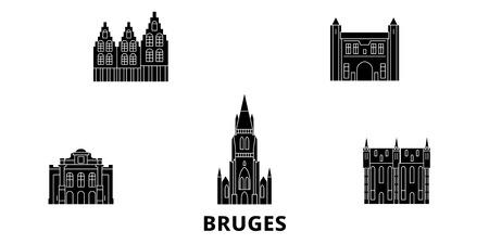 Belgium, Bruges flat travel skyline set. Belgium, Bruges black city vector panorama, illustration, travel sights, landmarks, streets. Stock Vector - 120662837