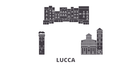 Italy, Lucca flat travel skyline set. Italy, Lucca black city vector panorama, illustration, travel sights, landmarks, streets.