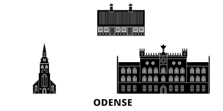 Denmark, Odense flat travel skyline set. Denmark, Odense black city vector panorama, illustration, travel sights, landmarks, streets.