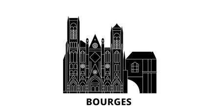France, Bourges flat travel skyline set. France, Bourges black city vector panorama, illustration, travel sights, landmarks, streets.