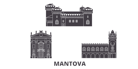 Italy, Mantova flat travel skyline set. Italy, Mantova black city vector panorama, illustration, travel sights, landmarks, streets.
