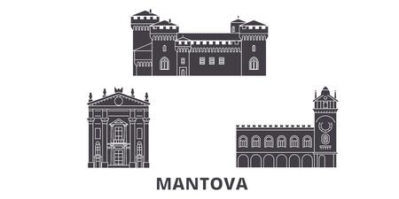 Italy, Mantova flat travel skyline set. Italy, Mantova black city vector panorama, illustration, travel sights, landmarks, streets. Illustration