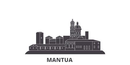 Italy, Mantua flat travel skyline set. Italy, Mantua black city vector panorama, illustration, travel sights, landmarks, streets. Illustration