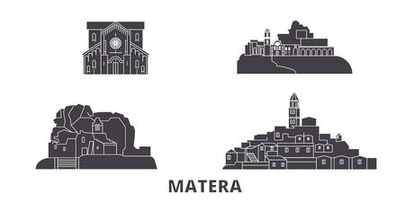 Italy, Matera flat travel skyline set. Italy, Matera black city vector panorama, illustration, travel sights, landmarks, streets. Illustration