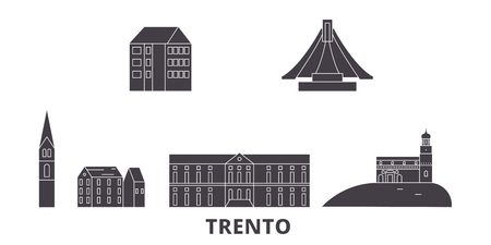 Italy, Trento flat travel skyline set. Italy, Trento black city vector panorama, illustration, travel sights, landmarks, streets.