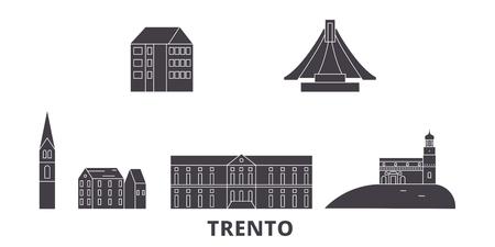 Italy, Trento flat travel skyline set. Italy, Trento black city vector panorama, illustration, travel sights, landmarks, streets.