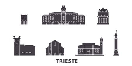 Italy, Trieste flat travel skyline set. Italy, Trieste black city vector panorama, illustration, travel sights, landmarks, streets.